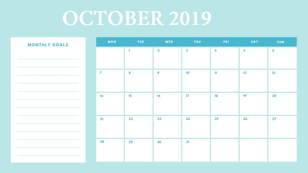 October 2019 Wall Calendar