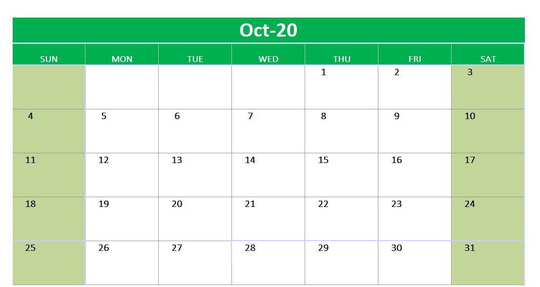 October 2020 Excel Printable Calendar