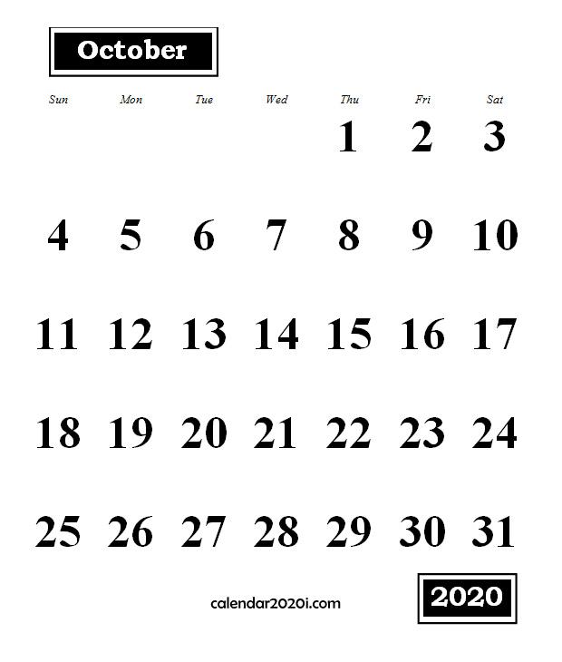 October 2020 Monthly Portrait Calendar