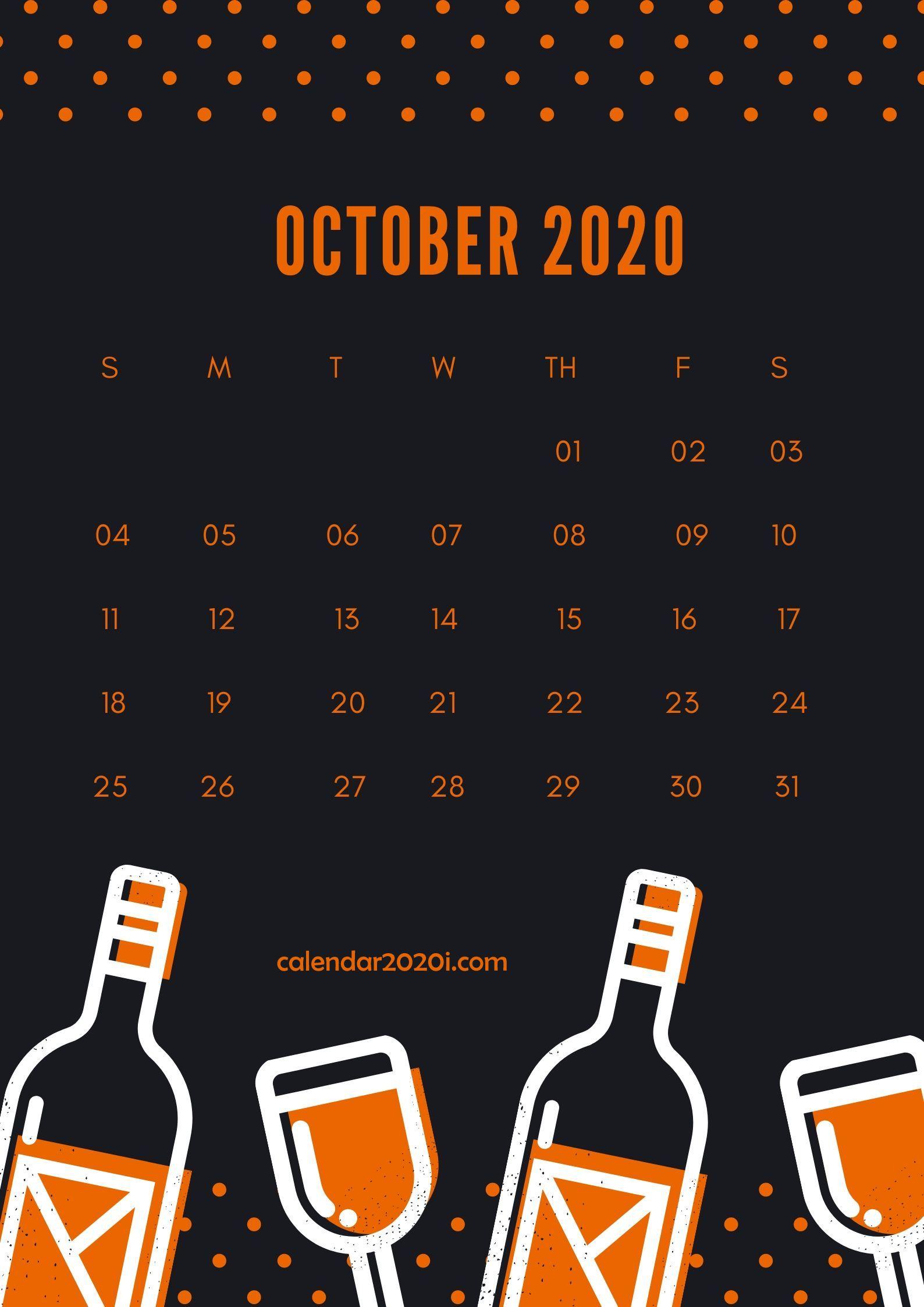 October 2020 Wall Calendar Printable