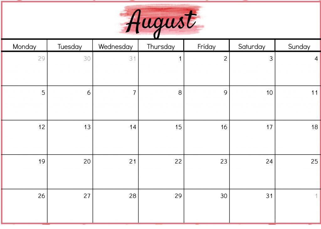 Print August 2019 Blank Calendar