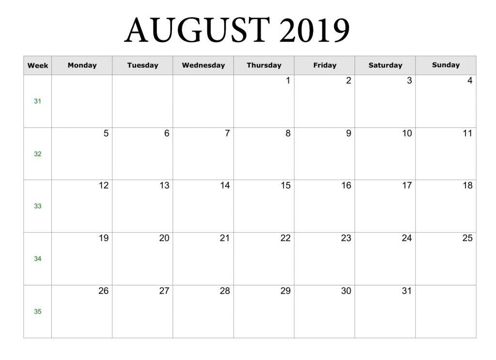 Printable August 2019 Blank Template