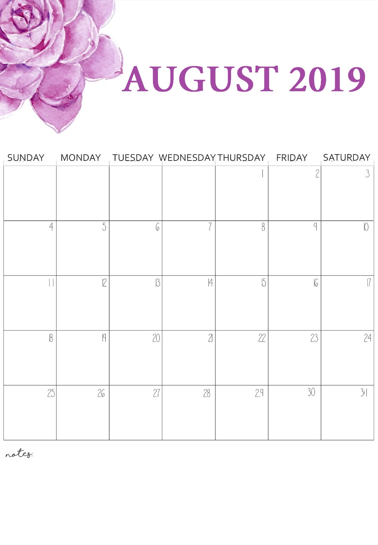 Printable August 2019 Floral Calendar