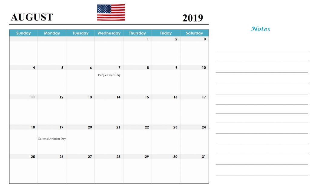 Printable August 2019 USA Holidays