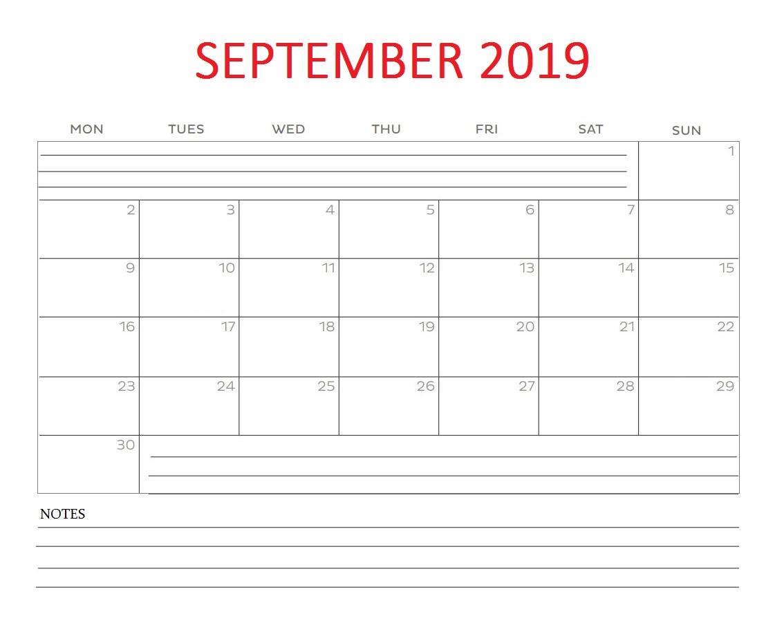 September 2019 Blank Template Calendar