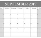 September 2019 Calendar Editable