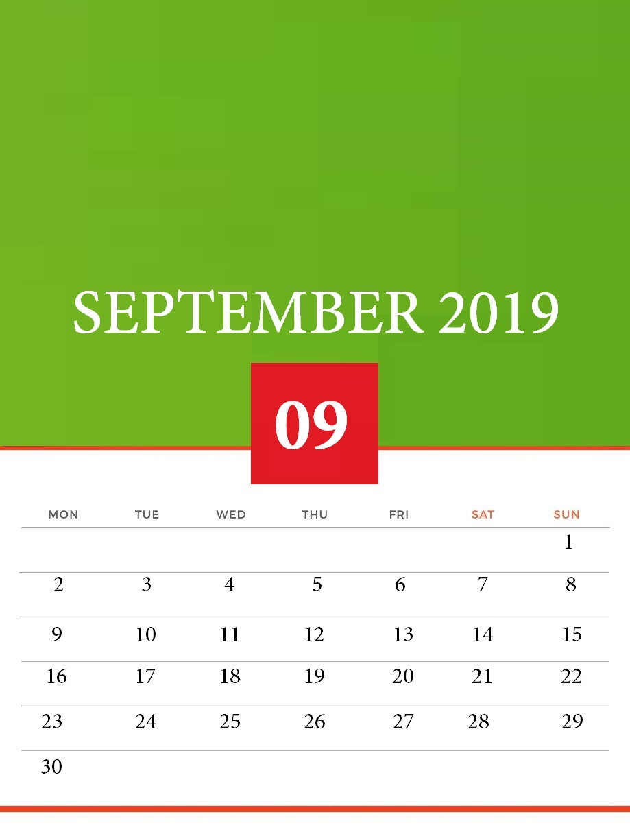 September 2019 Calendar for Desk