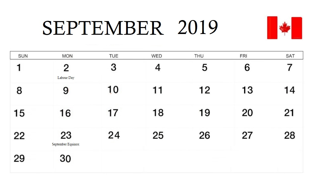 September 2019 Calendar with Canada Holidays