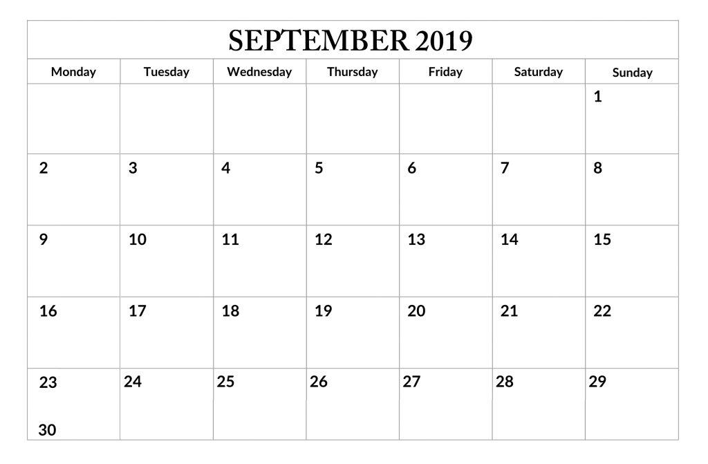 September 2019 Editable Planner