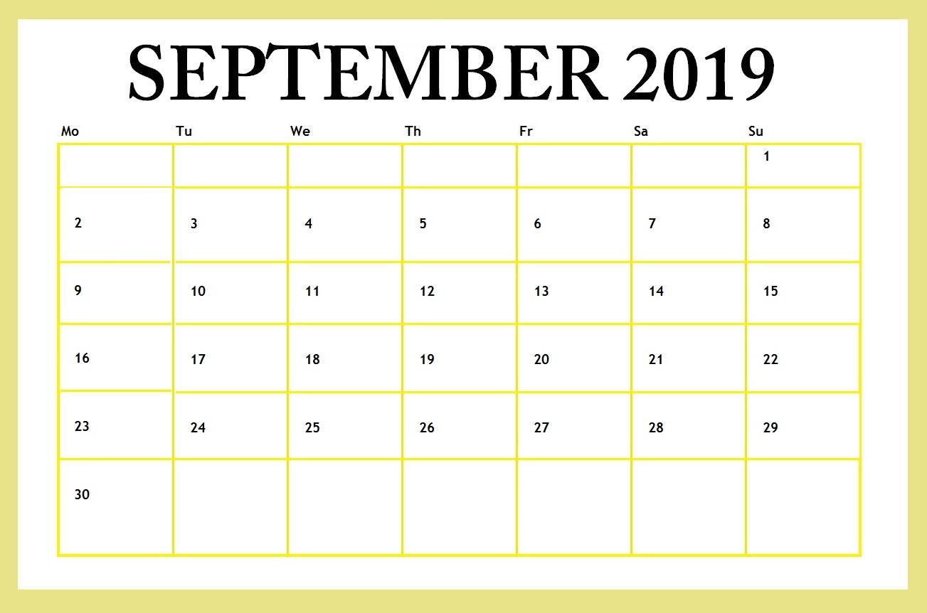 September 2019 Editable Template