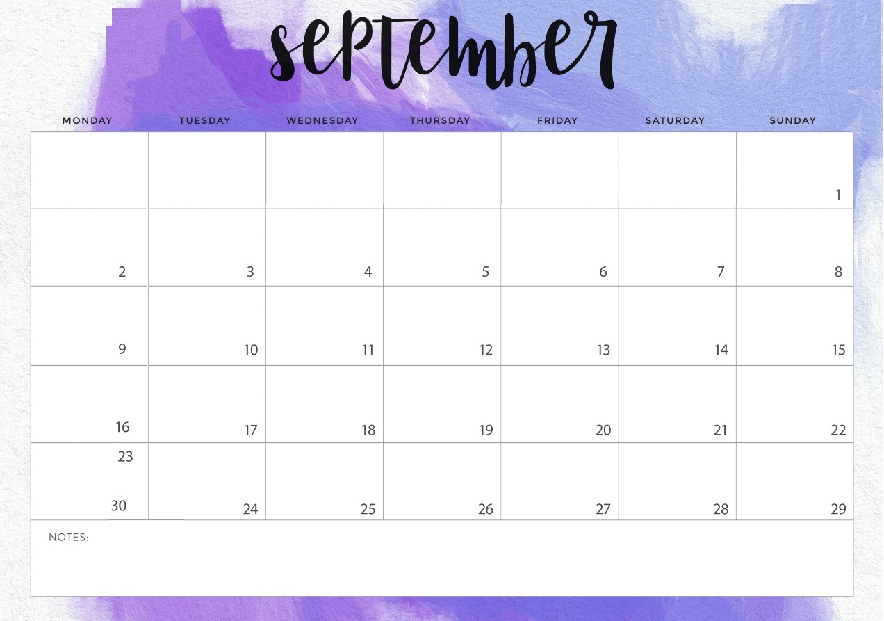 September 2019 Table Calendar