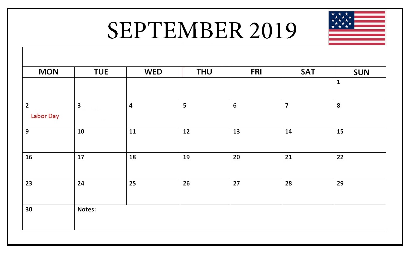 September 2019 USA Holidays Calendar