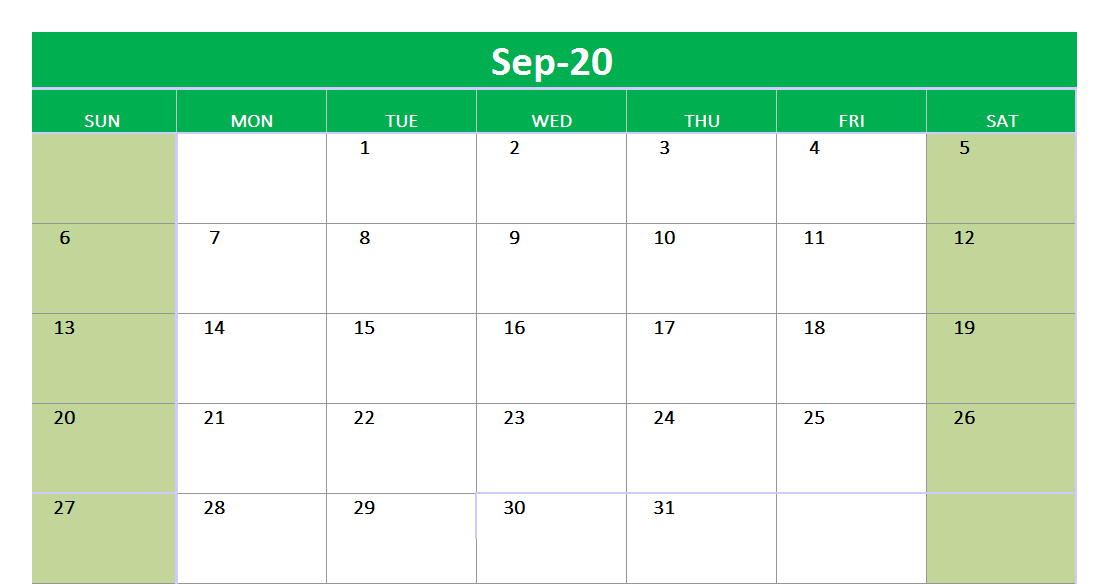 September 2020 Excel Printable Calendar