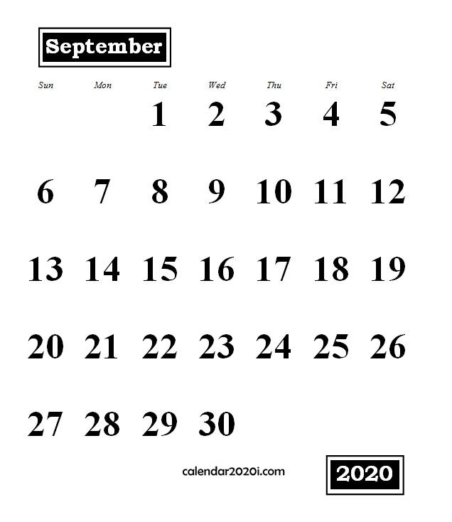 September 2020 Monthly Portrait Calendar