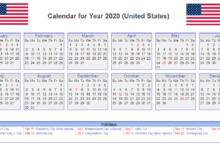 US 2020 Holidays Calendar