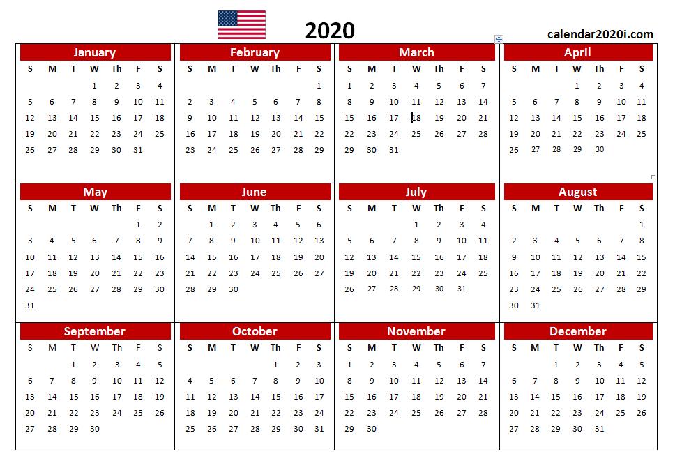 US 2020 PDF Printable Calendar