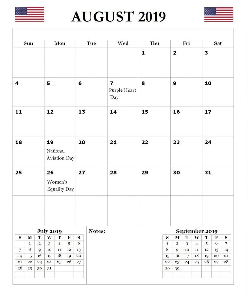 USA August 2019 Holidays Calendar