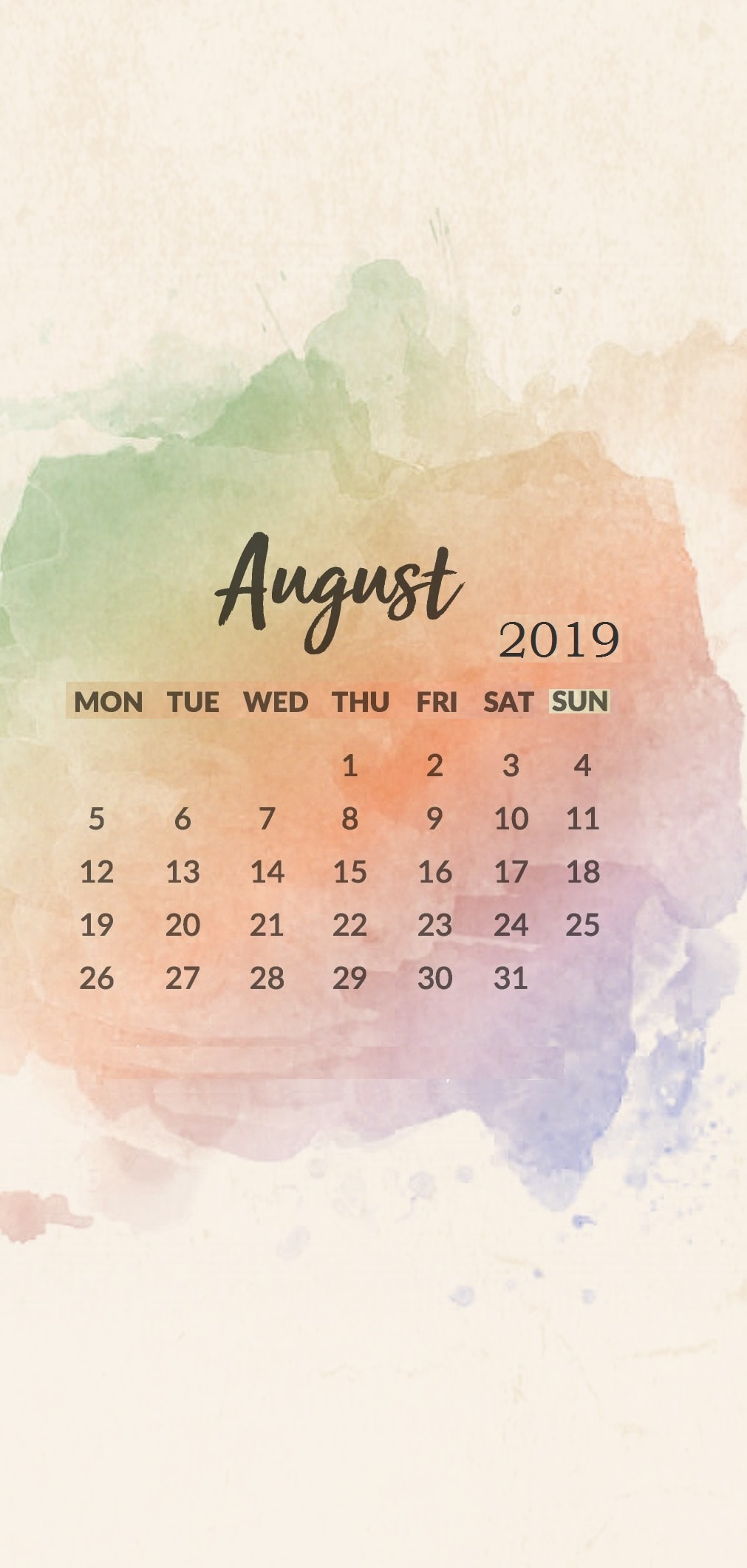 Watercolor August 2019 iPhone Calendar