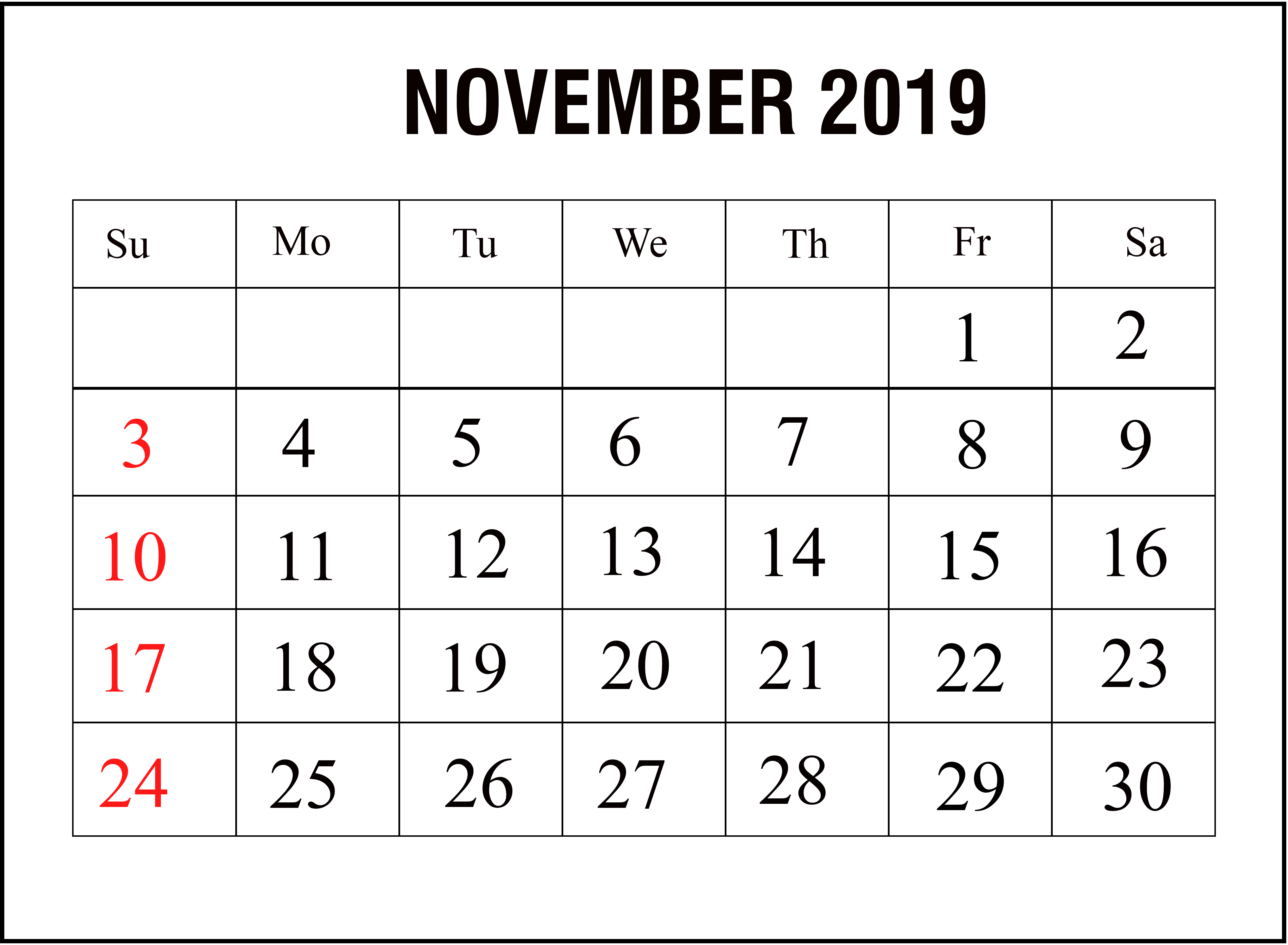2019 November Calendar Template