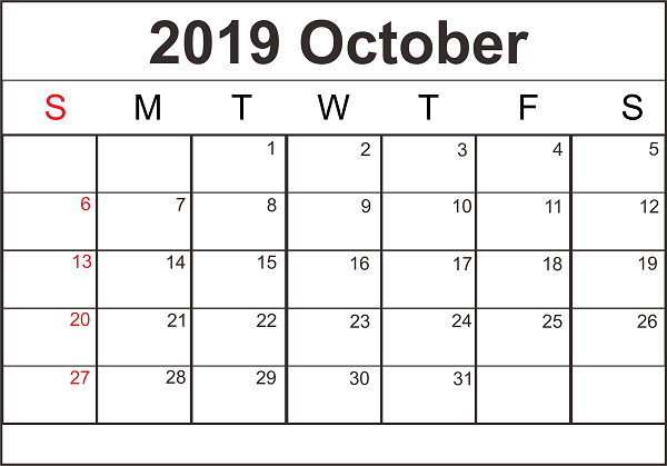 Blank October 2019 Printable Calendar
