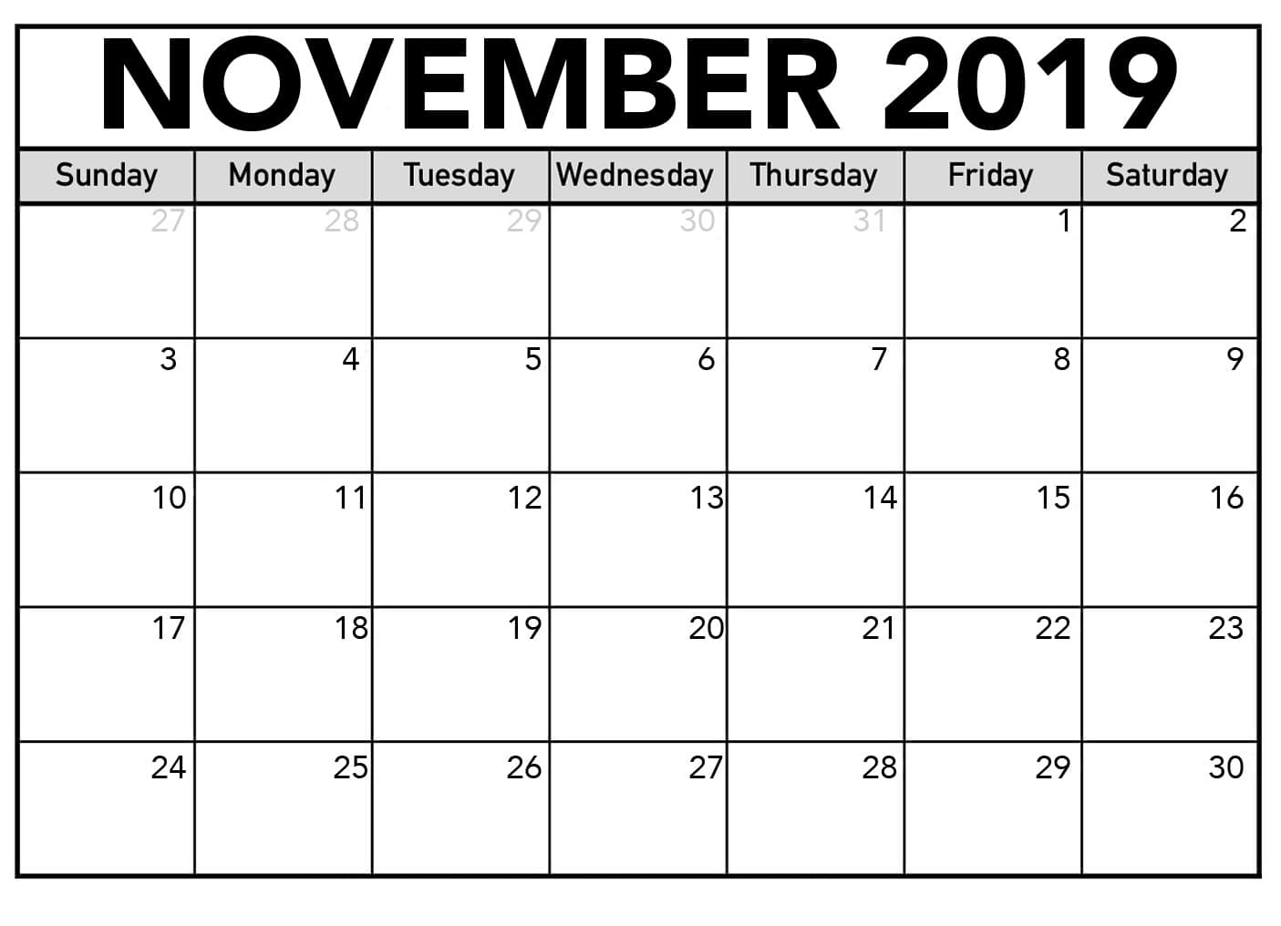 Calendar November 2019 Template