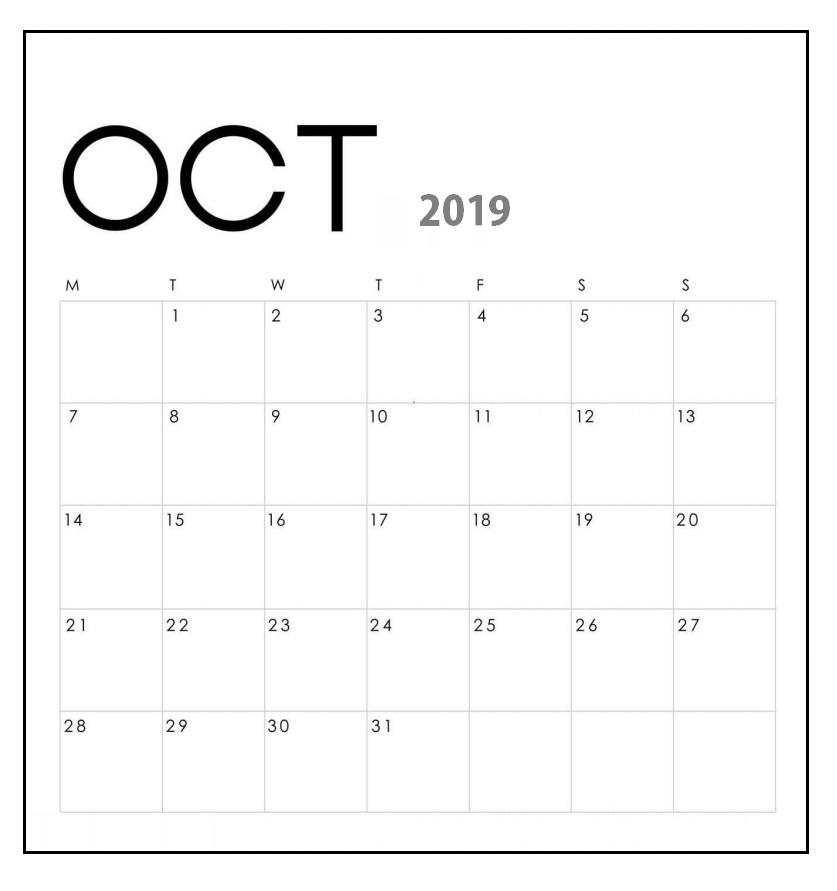 Cute 2019 October Wall Calendar