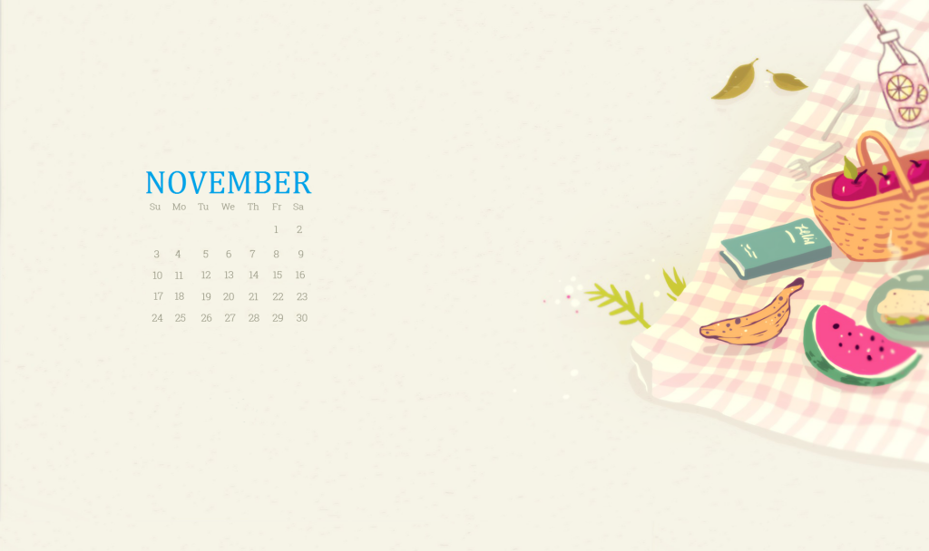 Cute November 2019 Calendar Wallpaper