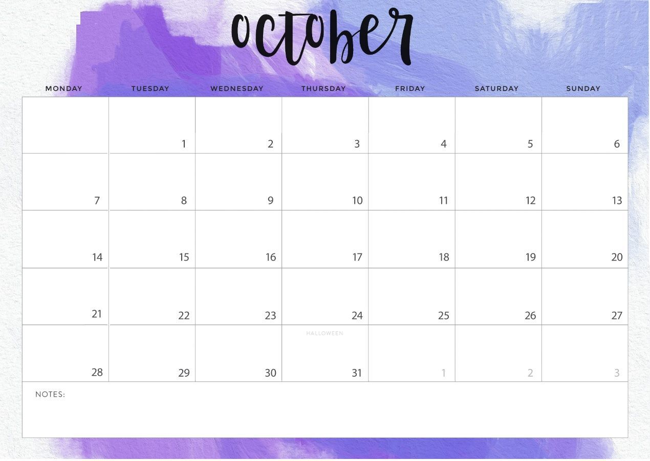 Cute October 2019 Desk Calendar