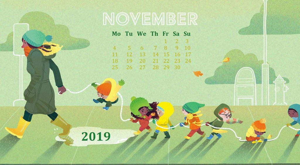 Decorative November 2019 Wallpaper Calendar