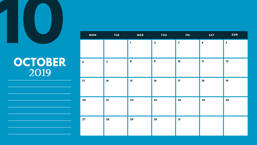 Desk 2019 October Calendar