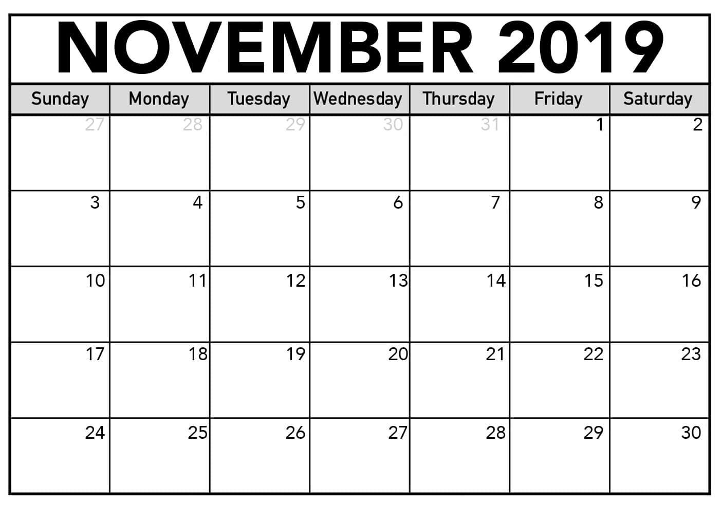 Editable November 2019 Printable Calendar