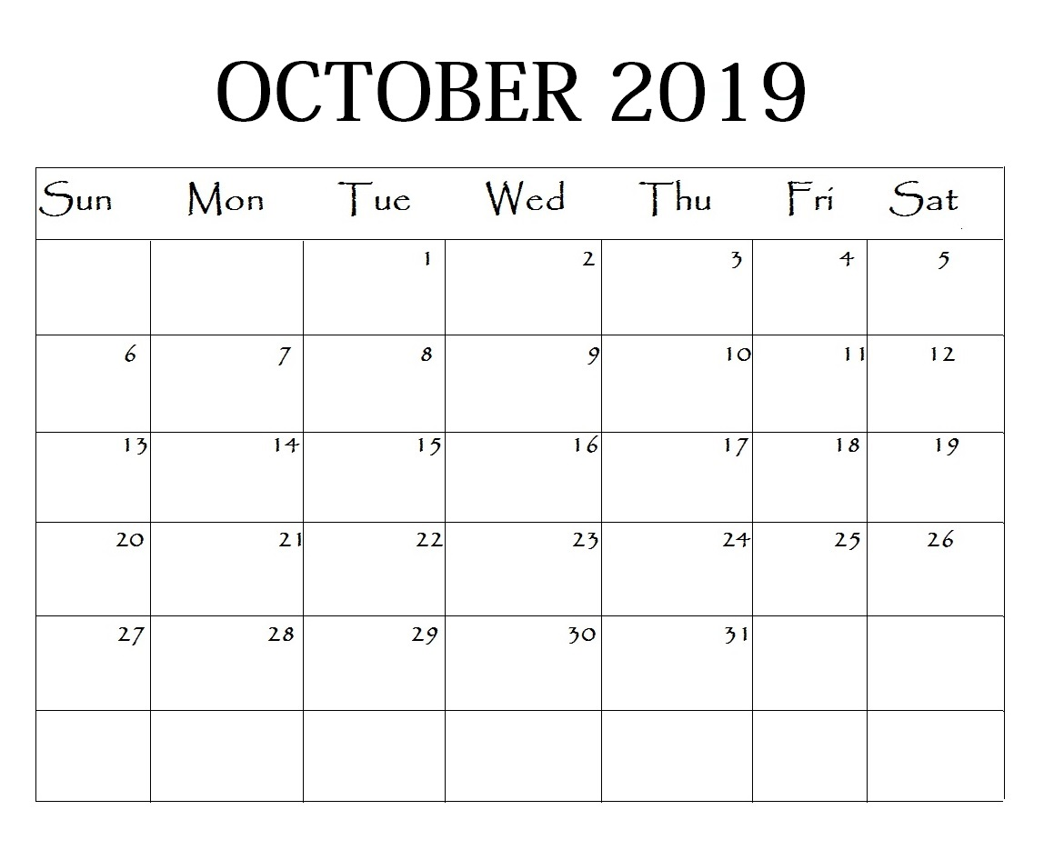 Editable October 2019 Planner Template