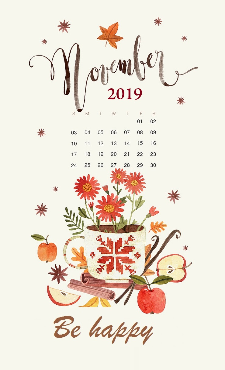 Floral November 2019 iPhone Wallpaper