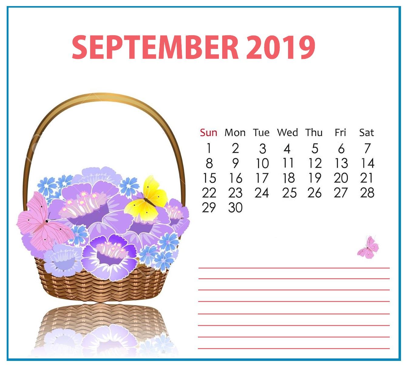 Floral September 2019 Wall Calendar