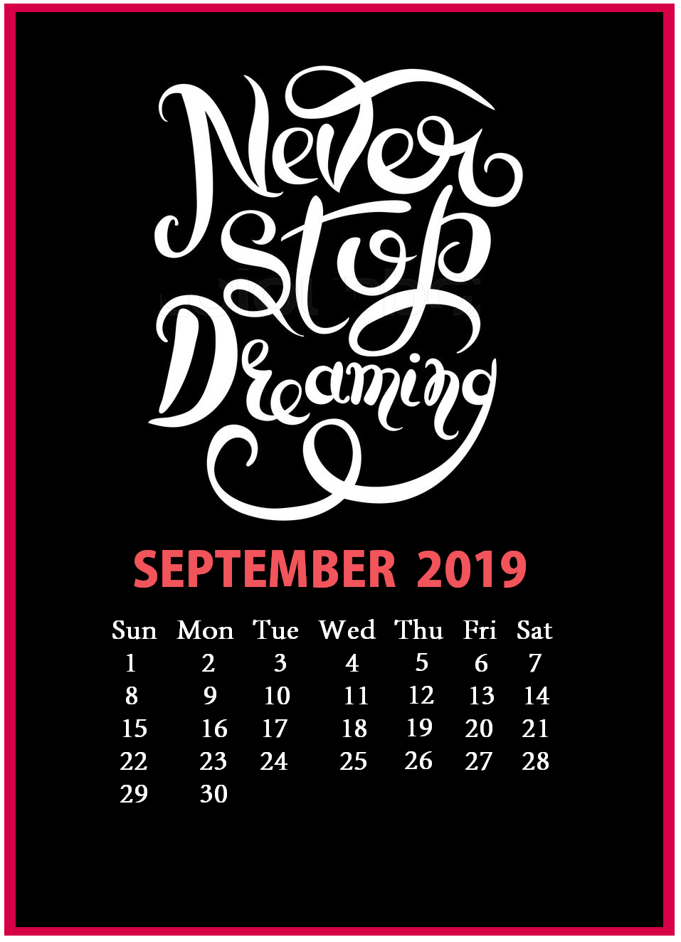 Inspirational September 2019 Calendar With Quotes
