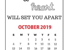 Inspiring October 2019 Quotes Wall Calendar