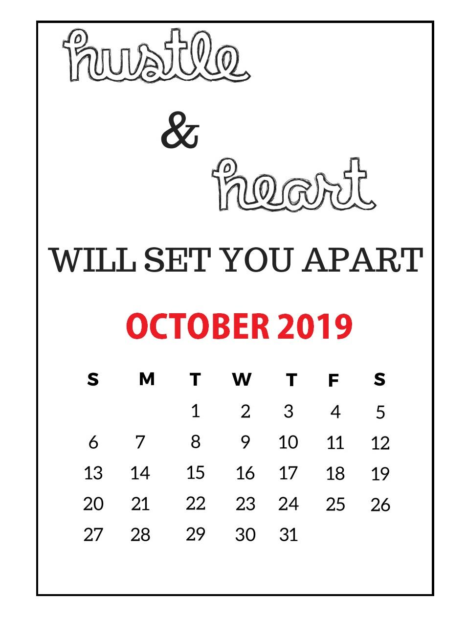 Inspiring October 2019 Quotes Wall Calendar