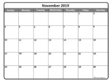 Monthly Calendar November 2019 Calendar