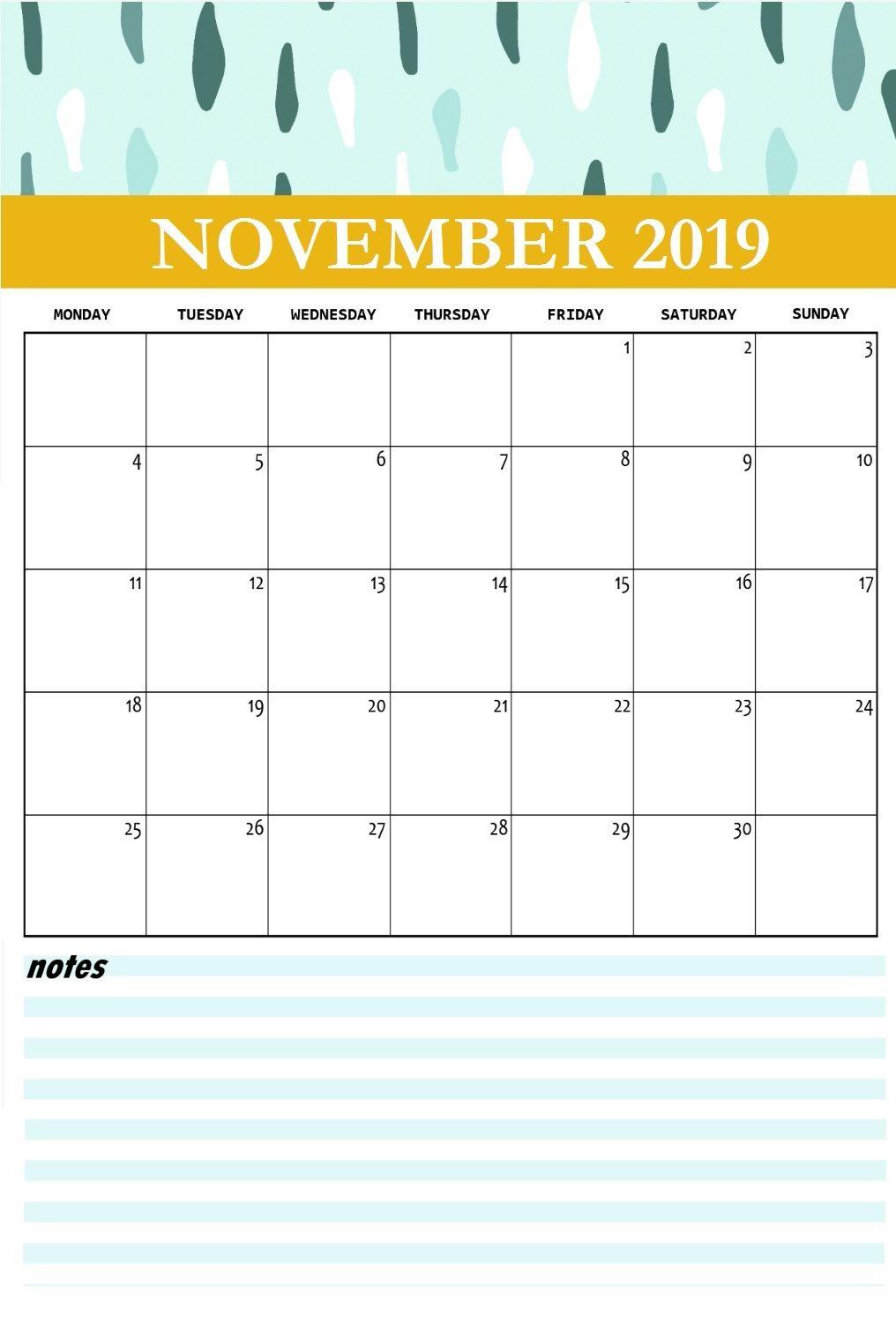 November 2019 Calendar Cute