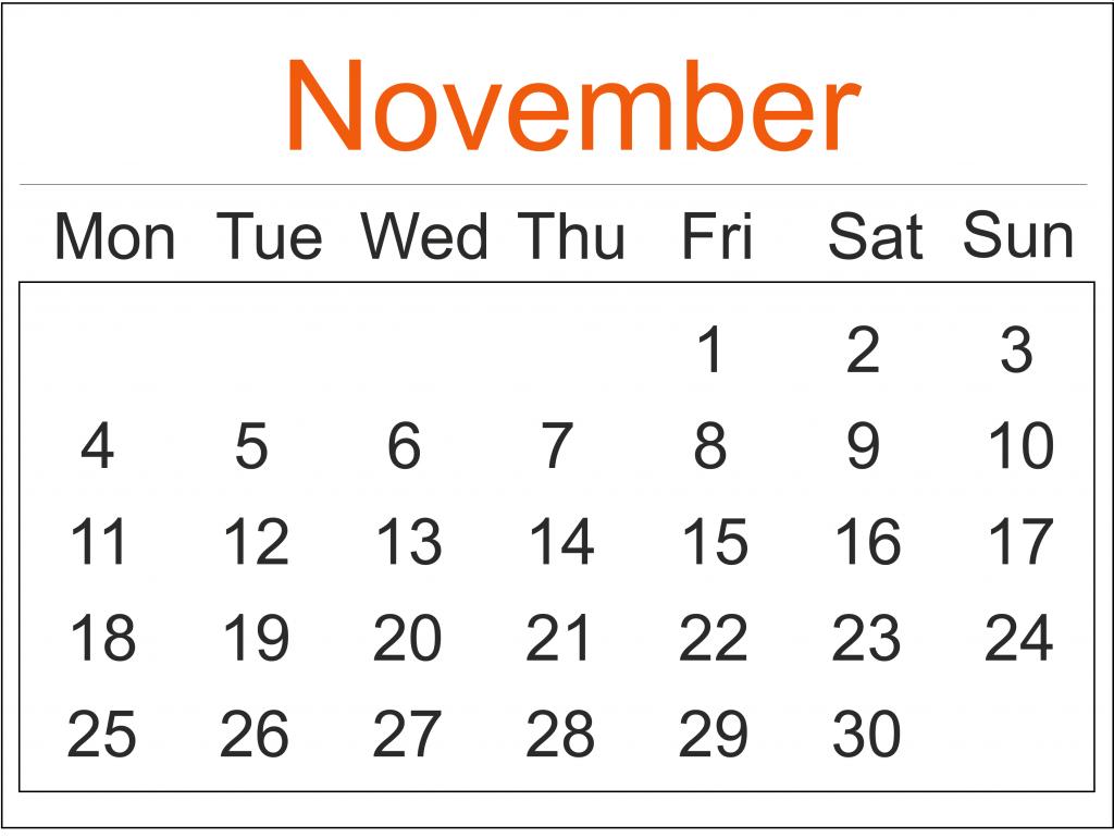 November 2019 Calendar Planner