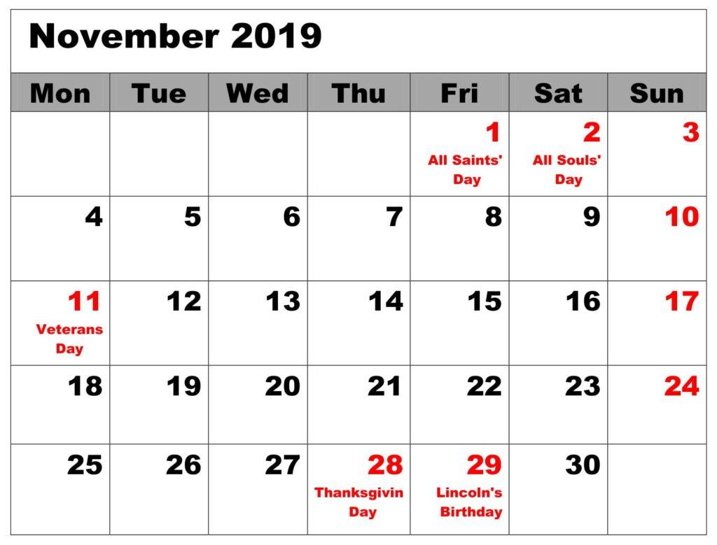 November 2019 Calendar with National Holidays