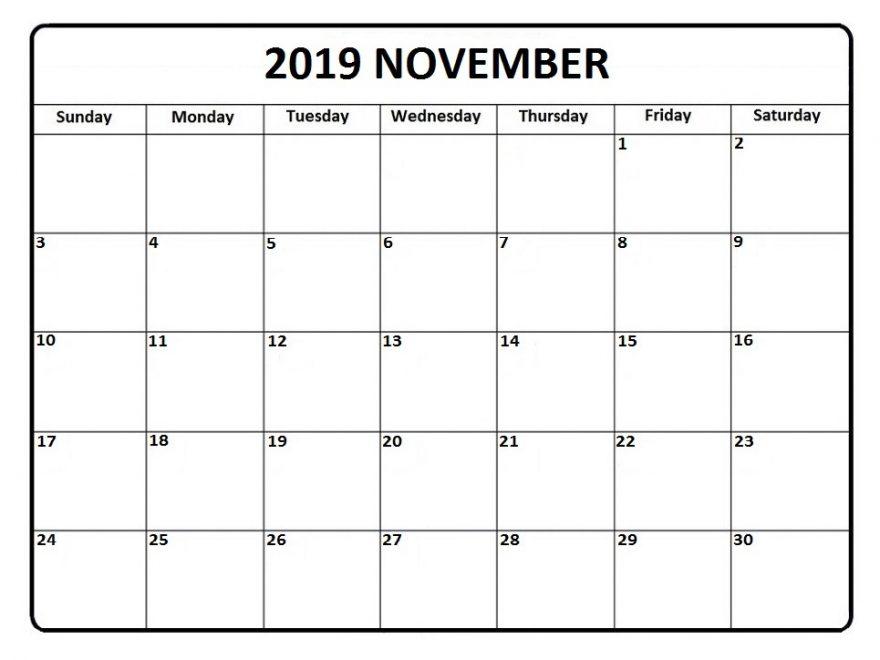 November 2019 Printable Calendar Template