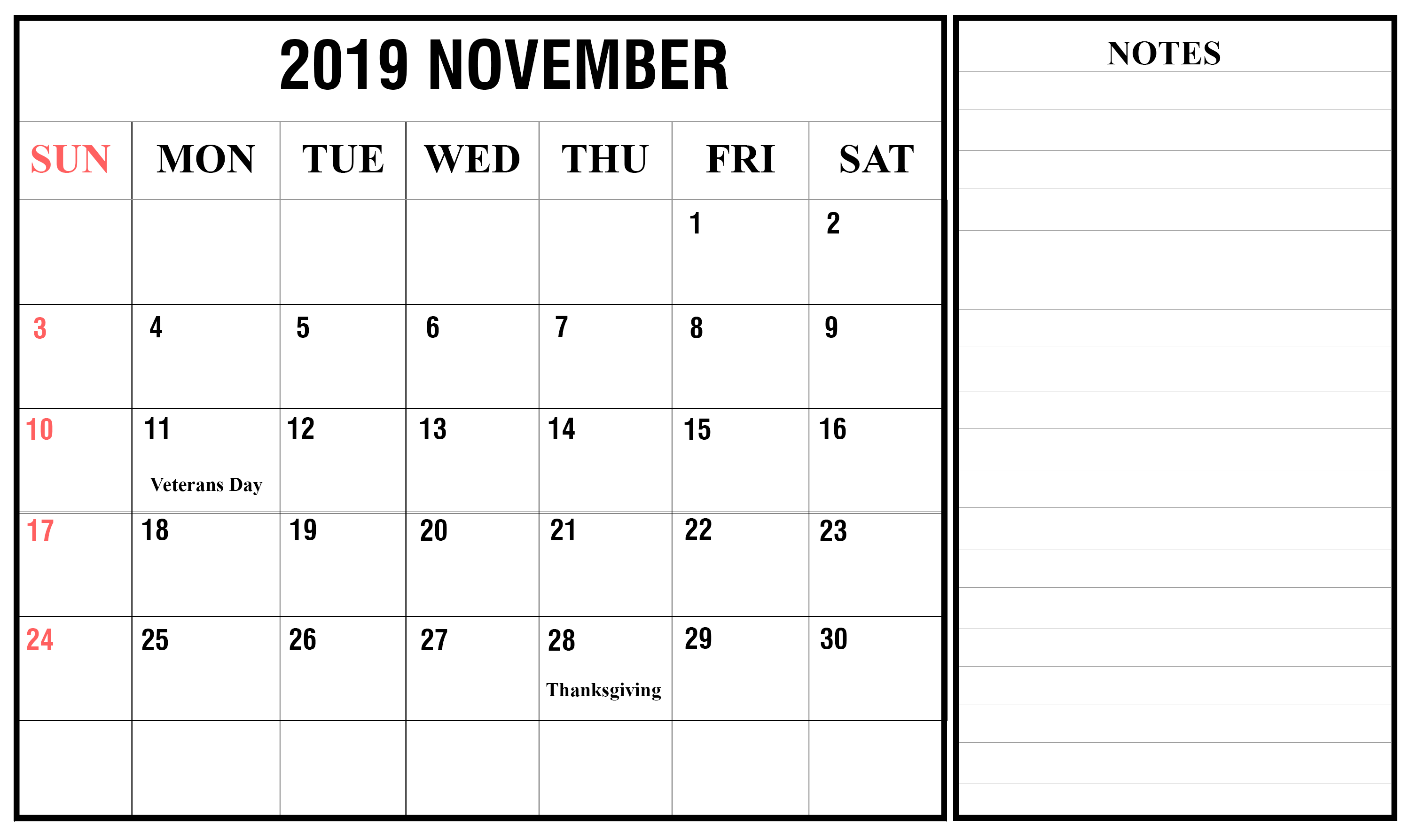 November 2019 Printable Calendar with Holidays