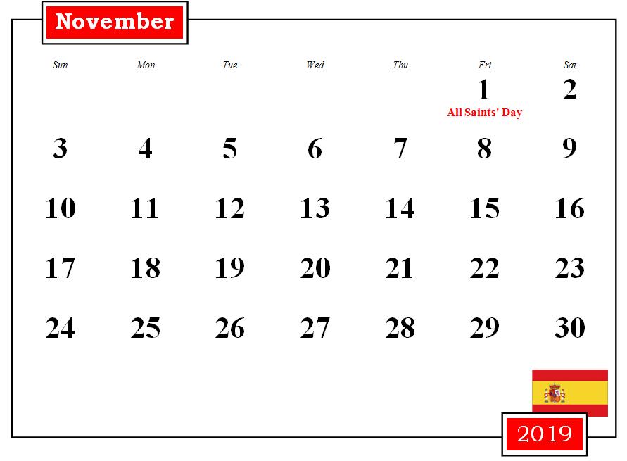 November 2019 Spain Holidays Calendar
