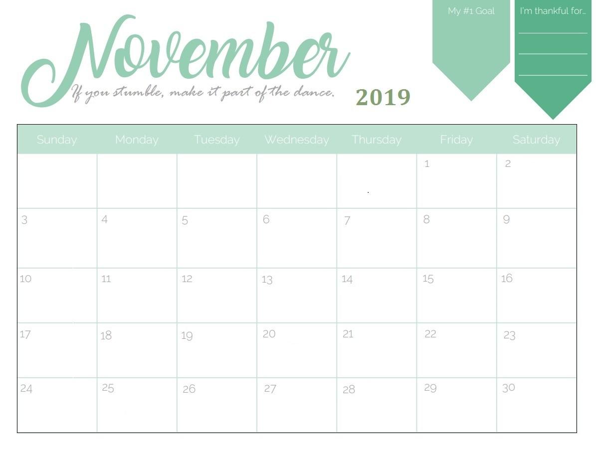 November 2019 Wall Calendar Template