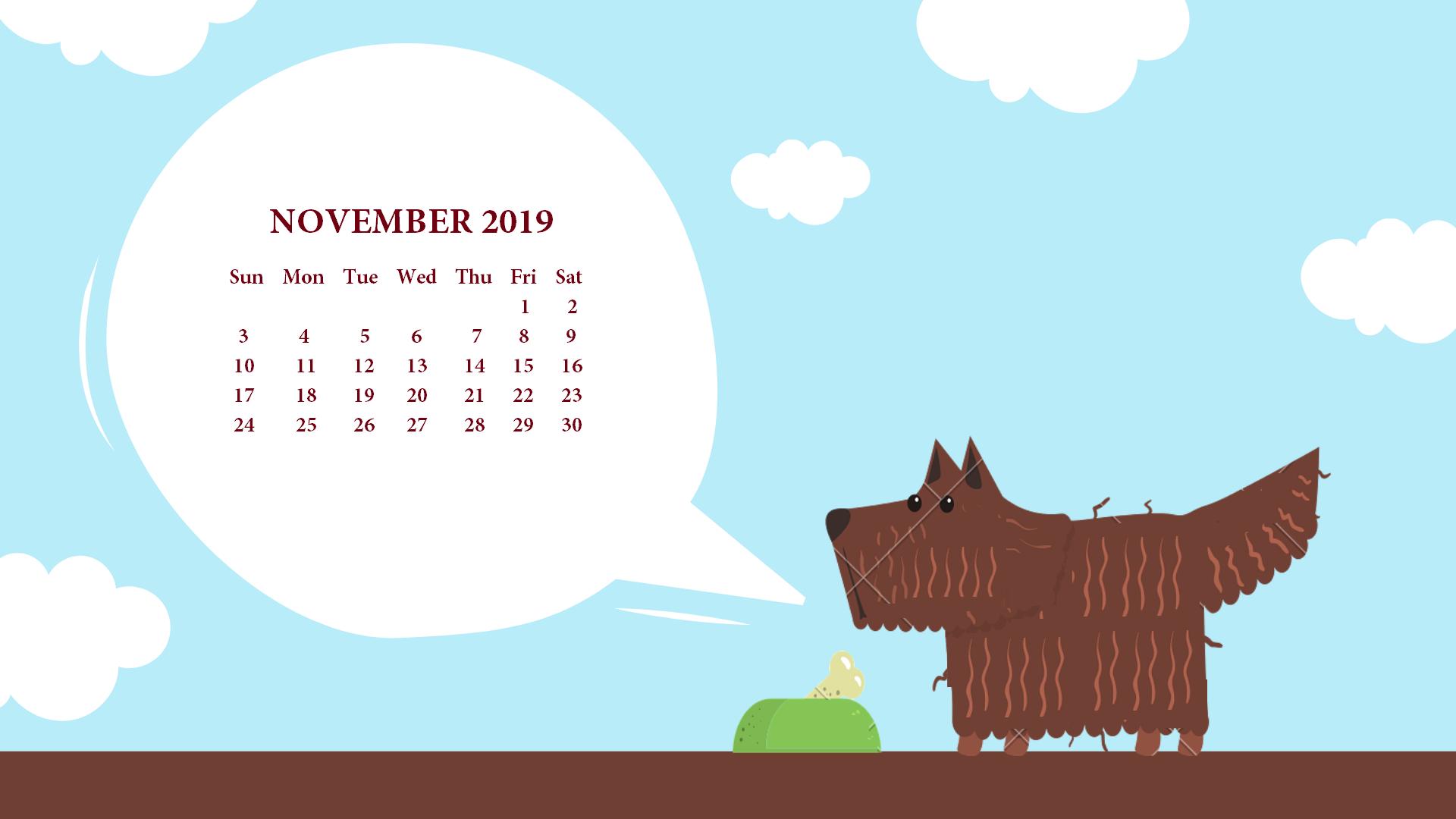 November Calendar 2019 Wallpaper