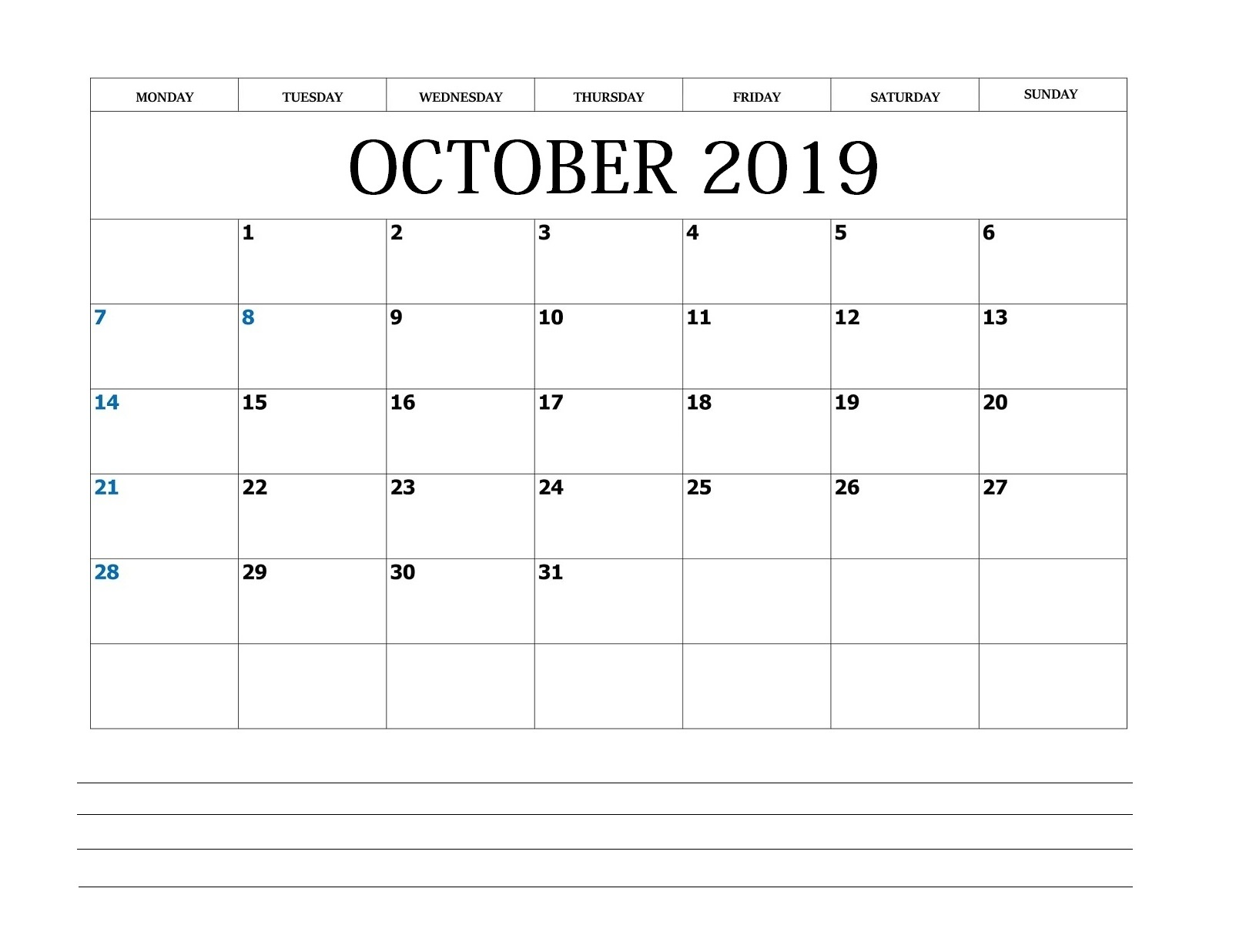 October 2019 Blank Calendar With Notes