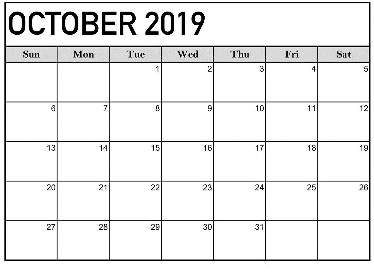 October 2019 Calendar Blank Template