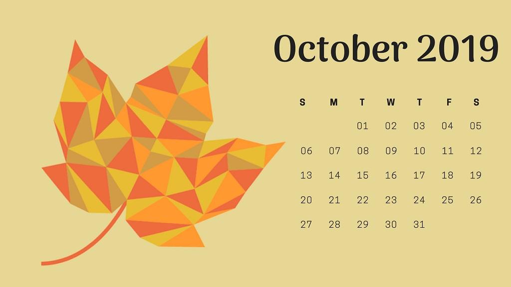October 2019 Calendar Wallpaper for Desktop