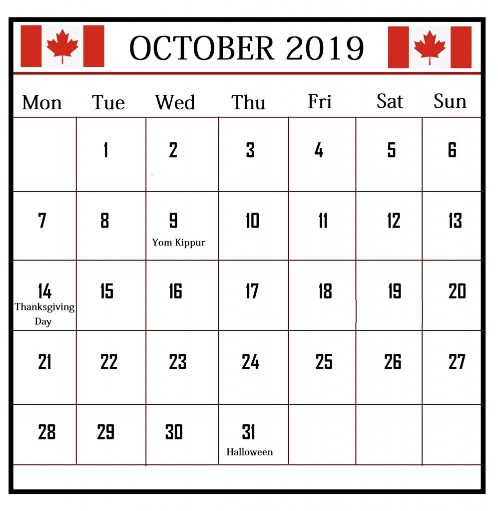 October 2019 Canada Holidays Calendar